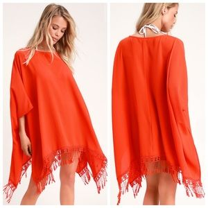 Lulu's TO THE HILLS BRIGHT ORANGE CROCHET COVER-UP